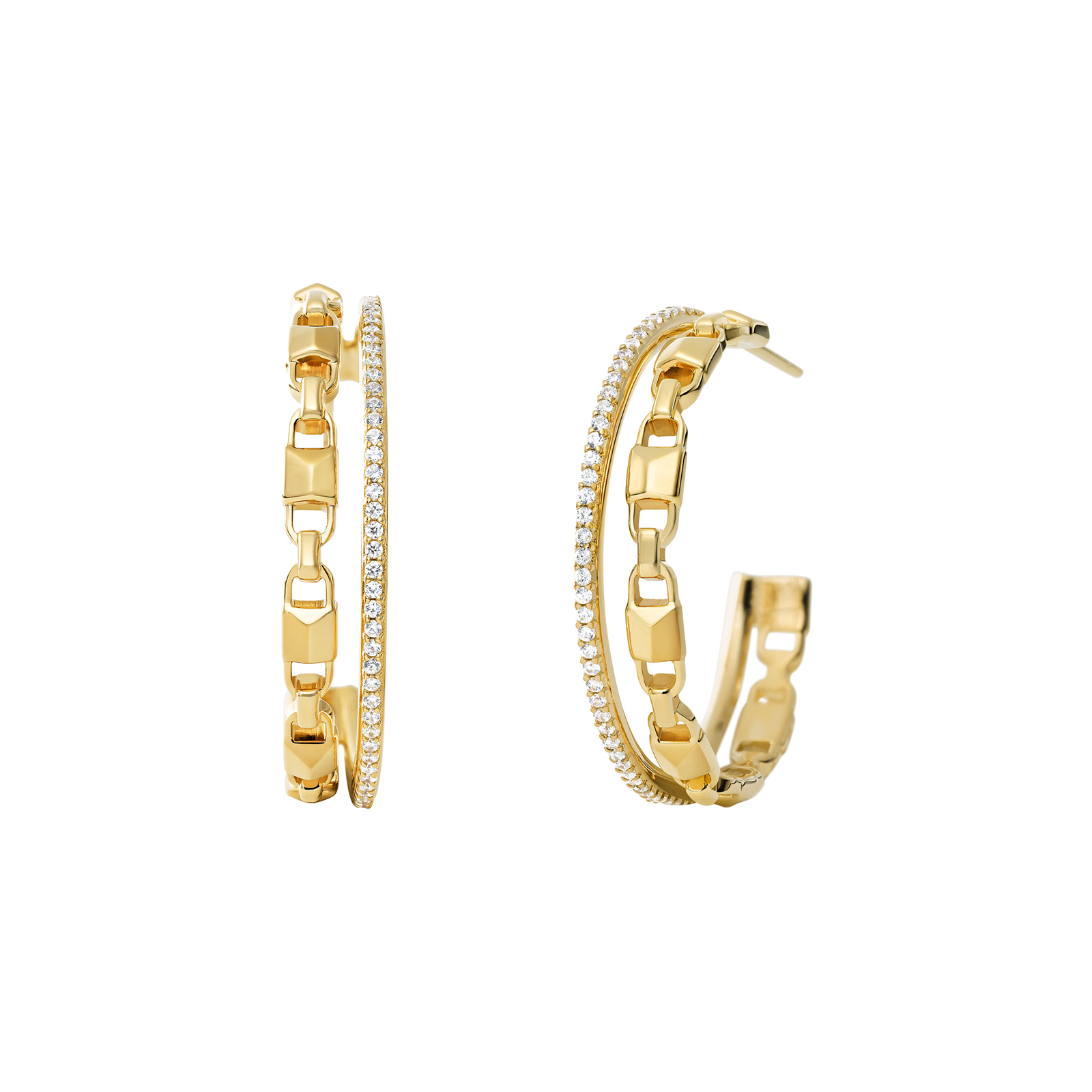 339177490 Michael Kors Mercer Link 14ct Gold Plated Hoops | Earrings | Jewellery |  Goldsmiths