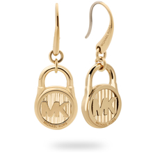 Michael Kors Logo Gold Tone Drop Earrings