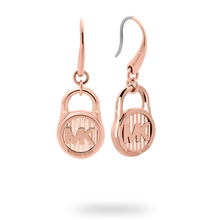 Michael Kors Logo Rose Gold Tone Drop Earrings