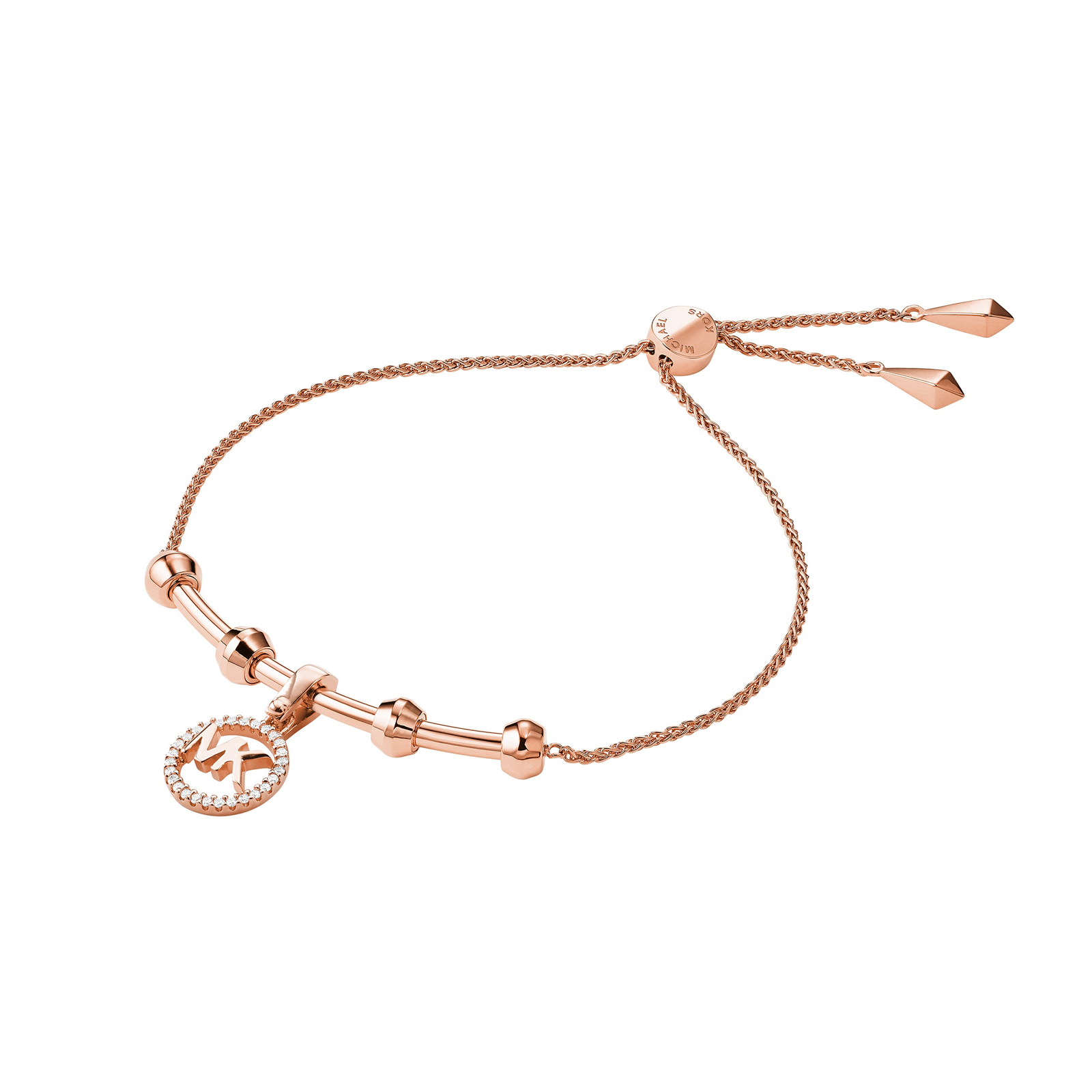 Michael Kors 14ct Rose Gold Plated CustomKors Charm Bracelet