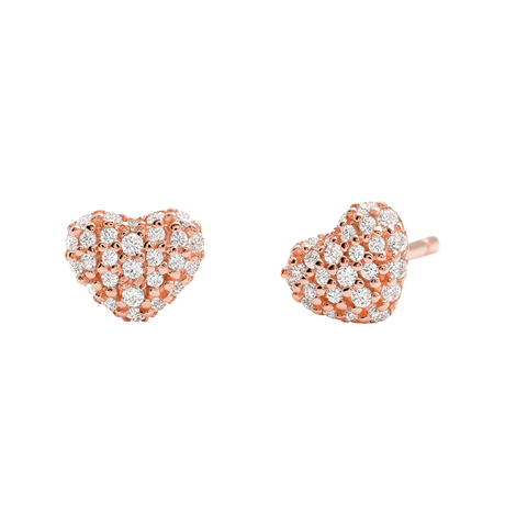 Michael Kors Pave 14ct Rose Gold Plated Heart Stud Earrings