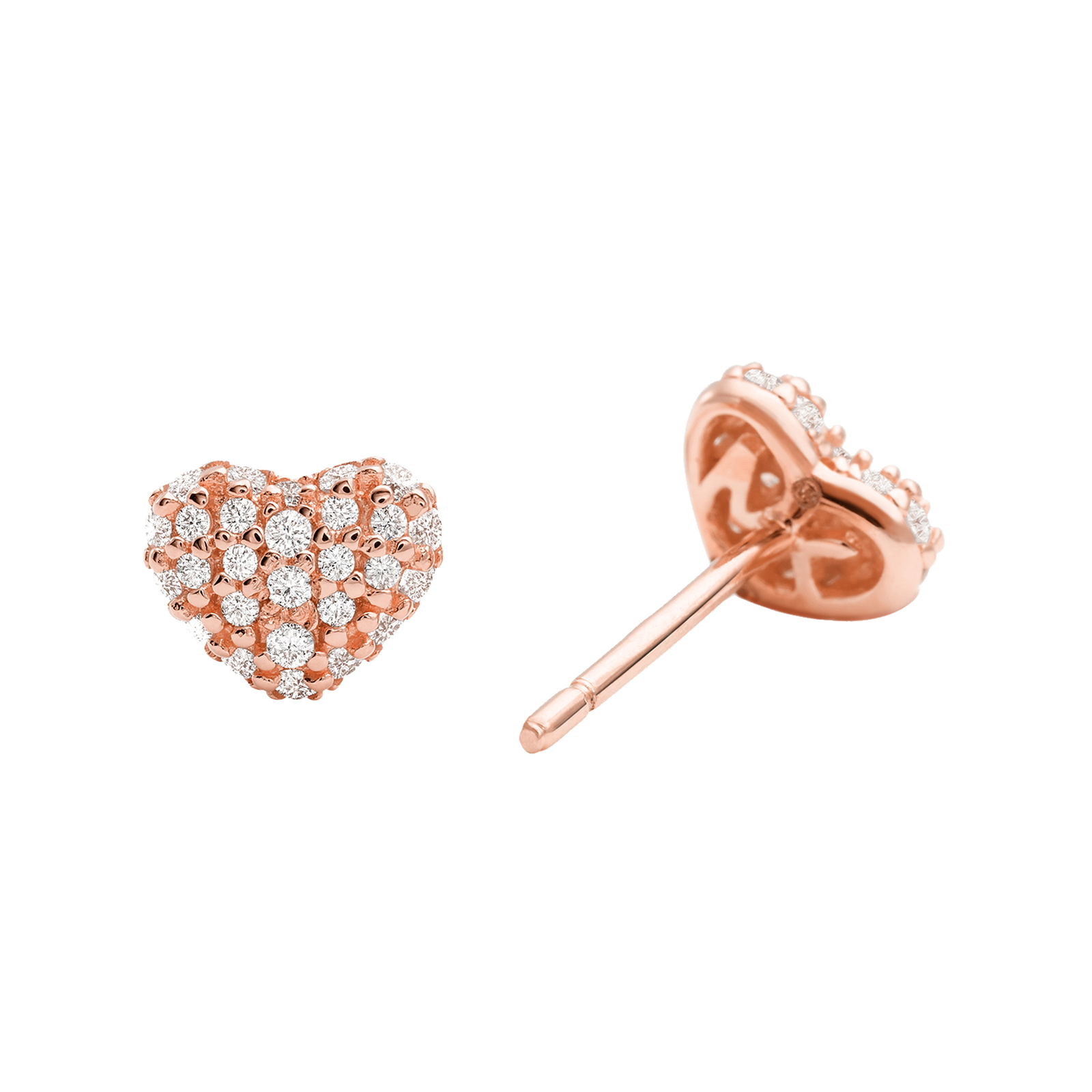 318169a3bf5f9 Michael Kors Pave 14ct Rose Gold Plated Heart Stud Earrings ...