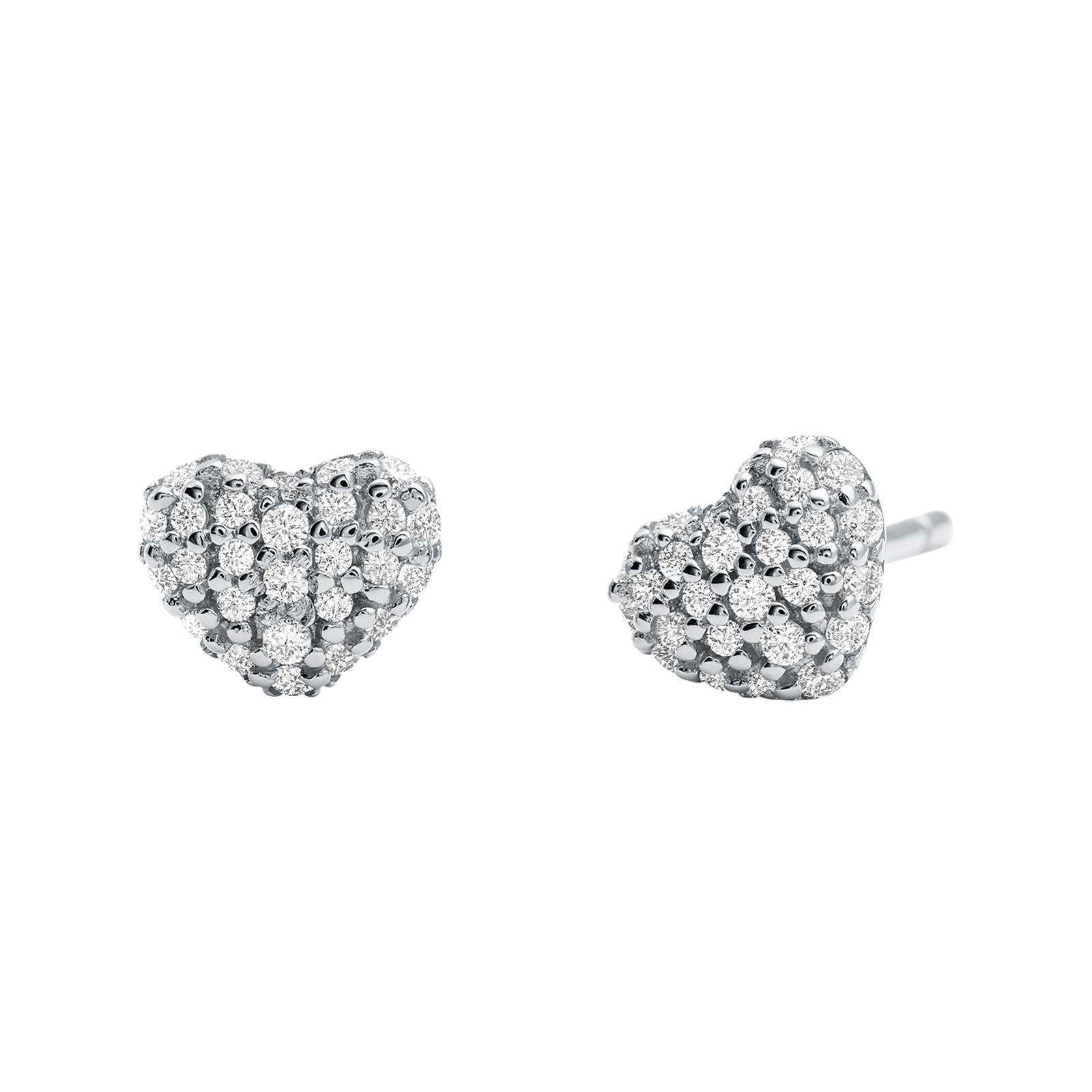Michael Kors Pave Sterling Silver Heart Stud Earrings  998733ad1ed0