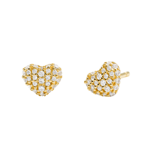 Michael Kors Pave 14ct Gold Plated Heart Stud Earrings