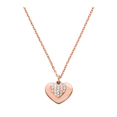 Michael Kors Love 14ct Rose Gold Plated Heart Duo Pendant