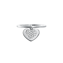 Michael Kors Love Sterling Silver Heart Duo Ring Size O