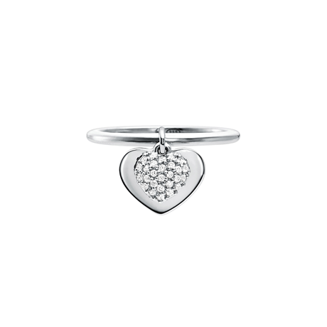 Michael Kors Love Sterling Silver Heart Duo Ring Size P