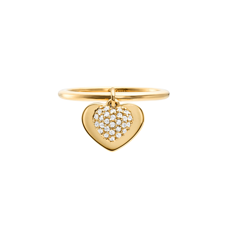 Michael Kors Love 14ct Gold Plated Heart Duo Ring Size P
