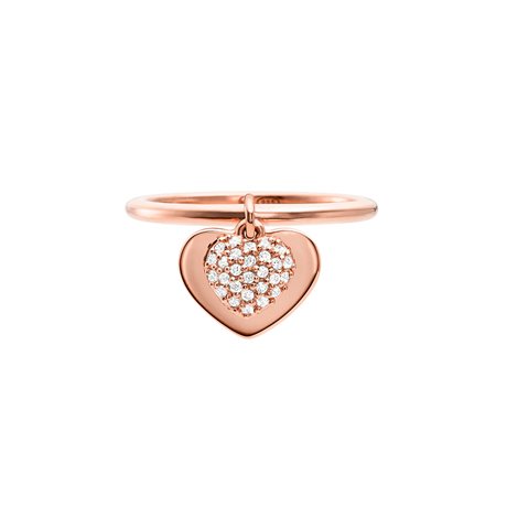 Michael Kors Love 14ct Rose Gold Plated Heart Duo Ring Size L.5