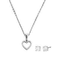 Michael Kors Sterling Silver Open Heart Pendant & Earrings Set