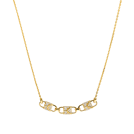 Michael Kors Mercer Link 14ct Gold Plated Pave Necklace