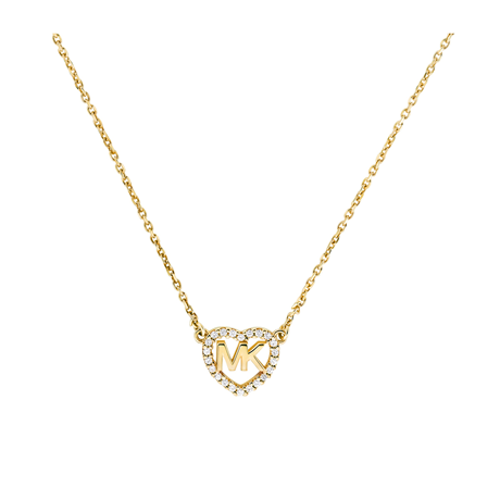 Michael Kors Love Yellow Gold Tone Cubic Zirconia Necklace