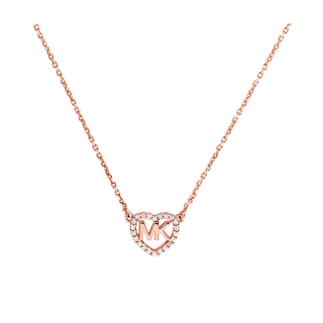Michael Kors Love Rose Gold Tone Cubic Zirconia Necklace