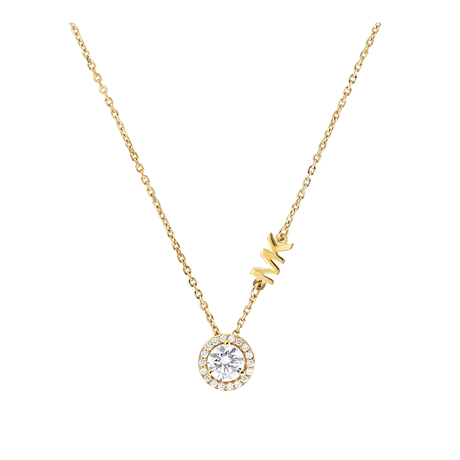 Michael Kors Custom Yellow Gold Tone Cubic Zirconia Necklace