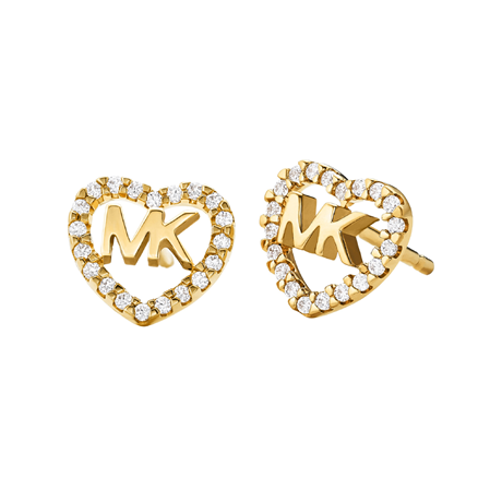 Michael Kors Love Yellow Gold Tone Cubic Zirconia Earrings