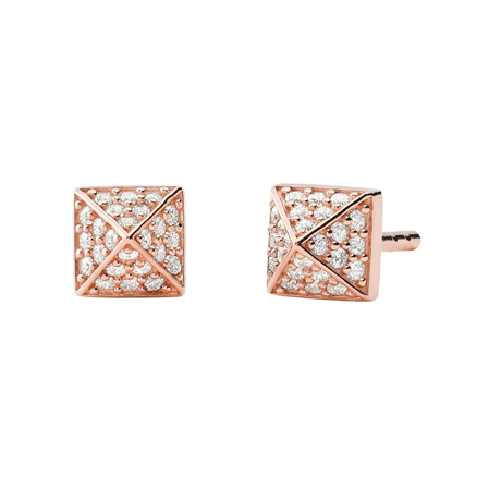 Michael Kors 14ct Rose Gold Plated Pyramid Stud Earrings