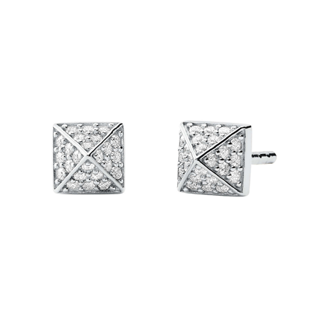 Michael Kors Sterling Silver Pyramid Stud Earrings