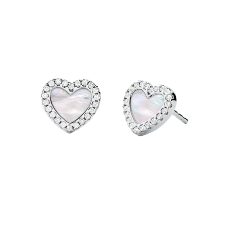 Michael Kors Sterling Silver Pave Mother of Pearl Heart Earrings