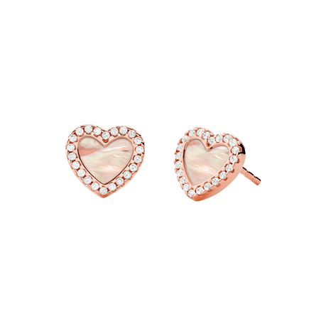 Michael Kors 14ct Rose Gold Plated Pave Mother of Pearl Heart Earrings