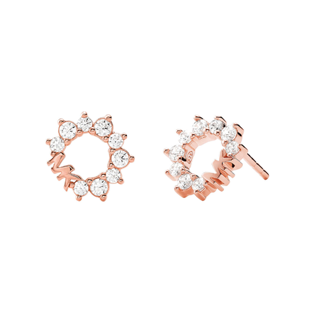 Michael Kors Rose Gold Plated Pave Circle Logo Stud Earrings
