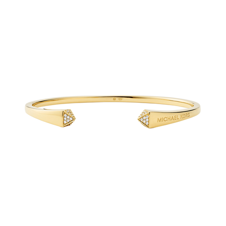 Michael Kors 14ct Yellow Gold Plated Pyramid Open Bangle