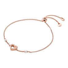 MichaelKors 14ct Rose Gold Plated Heart Slider Bracelet