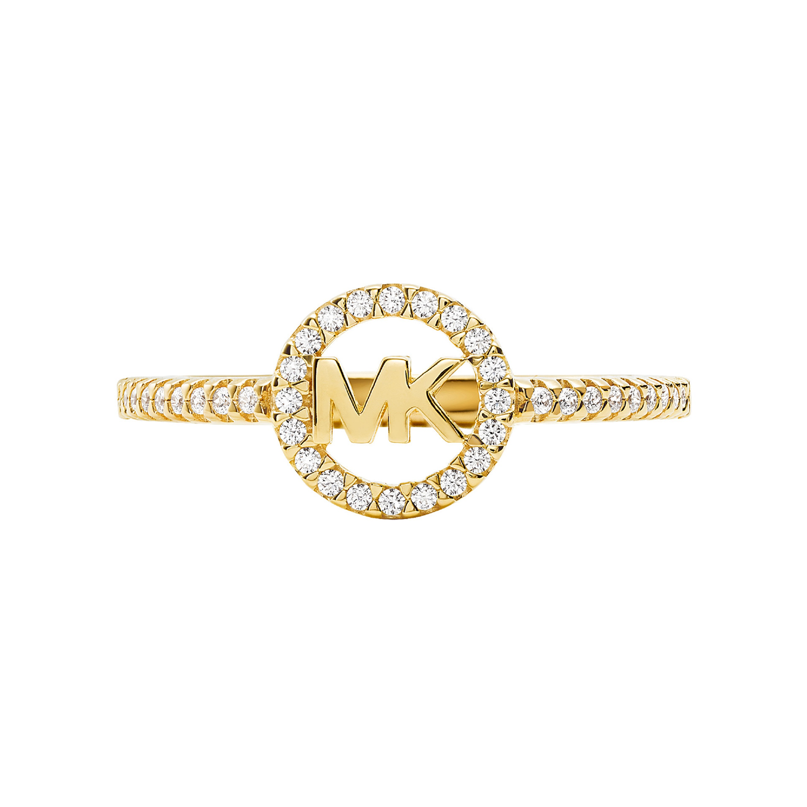 Michael Kors 14ct Yellow Gold Plated Pave Charm Logo Ring Size O