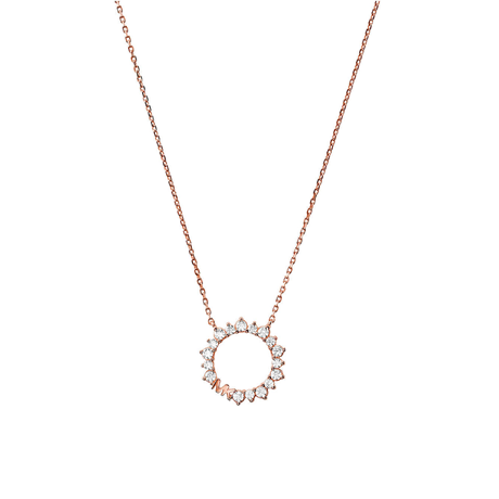 Michael Kors 14ct Rose Gold Plated Circle Pendant
