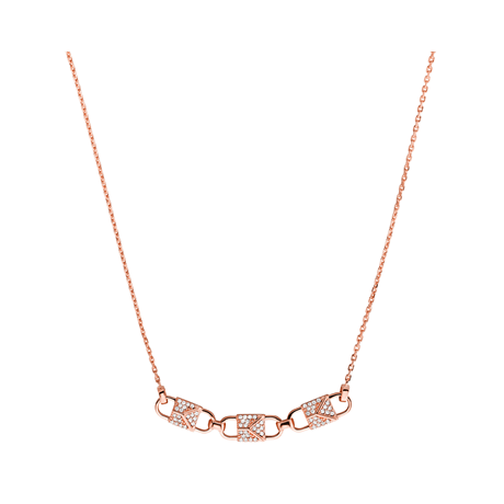 Michael Kors Mercer Link 14ct Rose Gold Plated Pave Necklace