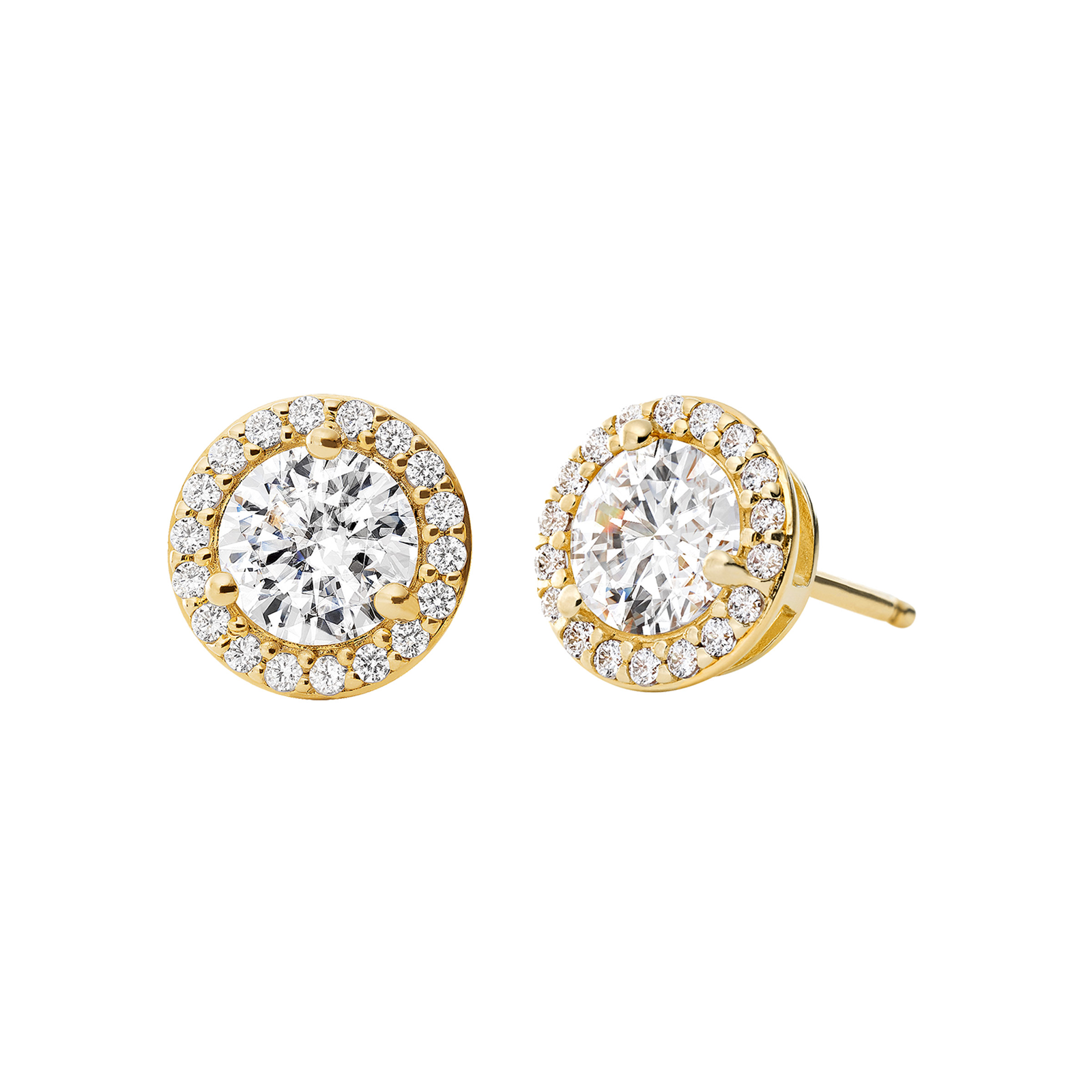 f4a424a14bcbc8 Michael Kors 14ct Gold Plated Halo Stud Earrings | Earrings | Jewellery |  Goldsmiths