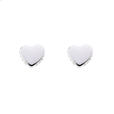 Ted Baker Harly Heart Stud Earrings, White Bronze