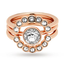 Ted Baker Rose Gold Plated Cadyna Concentric Crystal Ring - Ring Size Medium - Large