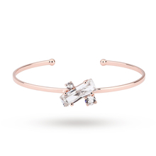 Ted Baker Rose Gold Plated Britte Crystal Baguette Cuff Bangle