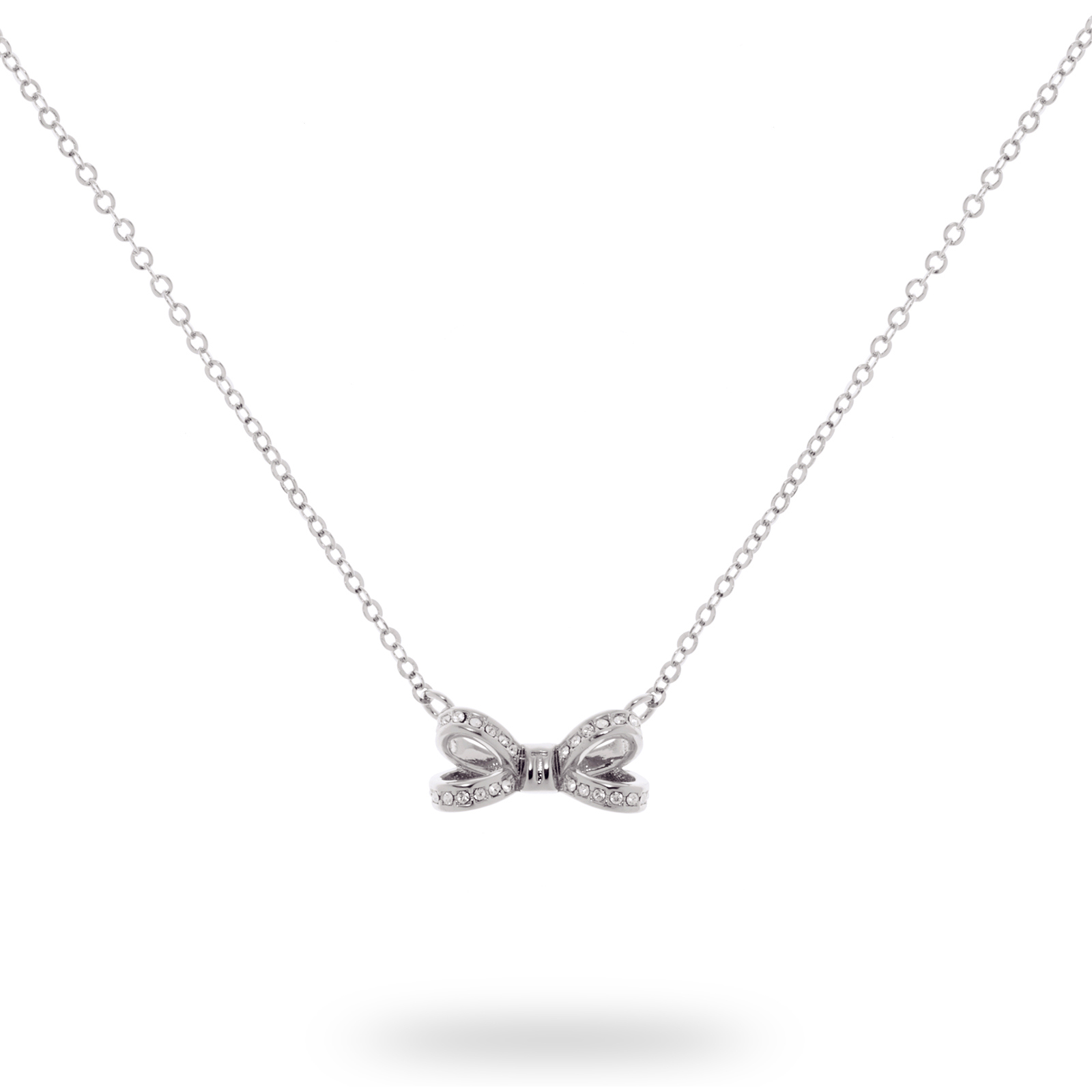 25282f5fd1d Ted Baker Silver Plated Olessi Mini Opulent Pave Bow Necklace ...