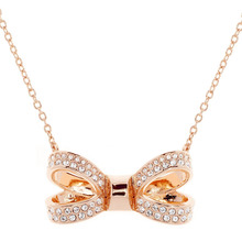 Ted Baker Rose Gold Plated Olira Opulent Pave Bow Necklace
