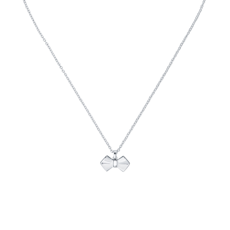 Ted Baker Silver Crystal Bow Pendant Necklace