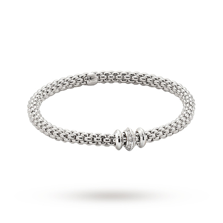 FOPE 18ct White Gold Solo Flex'It 0.17ct Diamond Bracelet