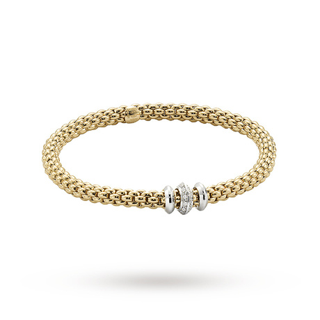FOPE 18ct Yellow Gold Solo Flex'It 0.17ct Diamond Bracelet