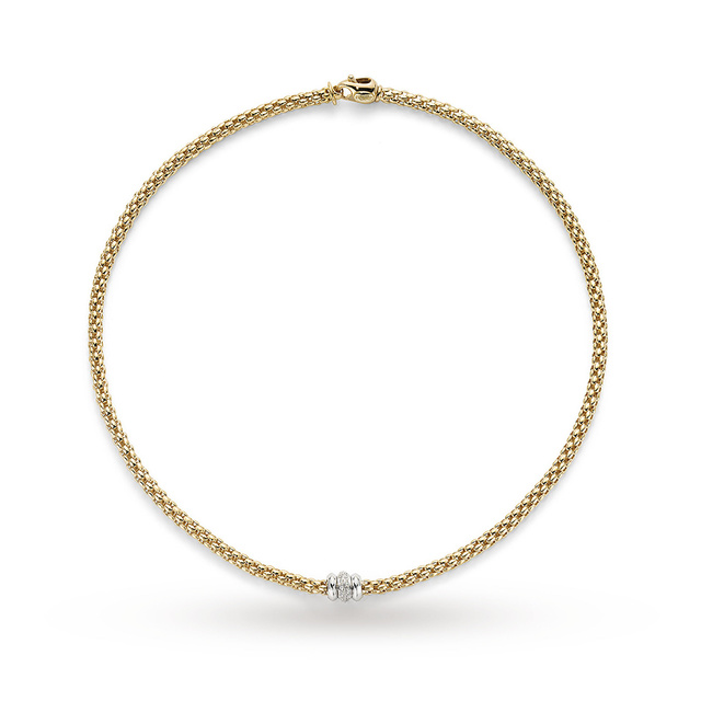 FOPE 18ct Yellow Gold Solo 0.17ct Diamond Necklace