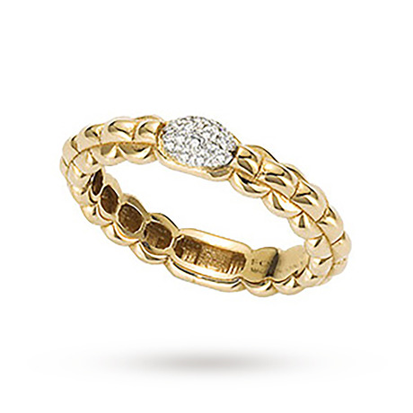 FOPE 18ct Yellow Gold Eka Tiny 0.10ct Pave Diamond Ring