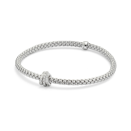 Fope 18ct White Gold Pave Flex'it Prima Bracelet