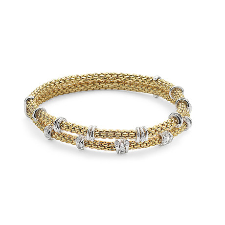Fope 18ct Yellow Gold Flex'it Prima Eyes Double Bracelet