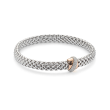 Fope Flex'it Vendome White & Rose Gold Diamond Bracelet - Size Medium