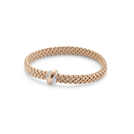 Fope Flex'it Vendome Rose Gold Diamond Bracelet - Size Medium