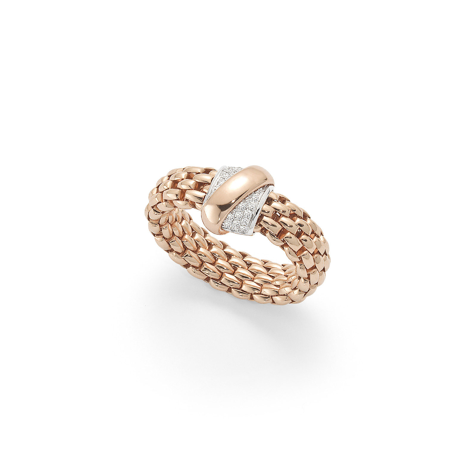 Fope Flex'it Vendome Rose Gold Diamond Ring - Size Medium