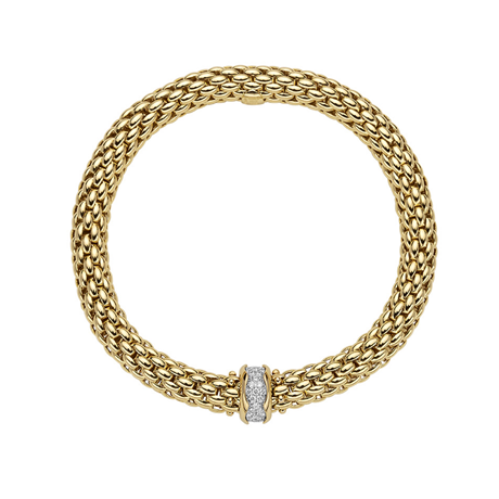 FOPE 18ct Yellow Gold Love Nest Flex'it 0.33ct Diamond Bracelet