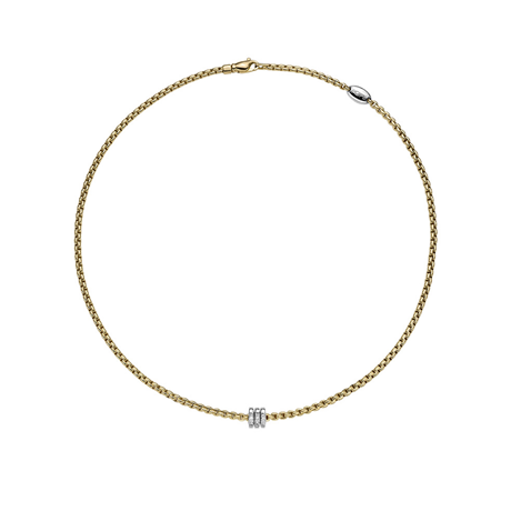 Fope 18ct Yellow Gold Eka Tiny Diamond Necklace