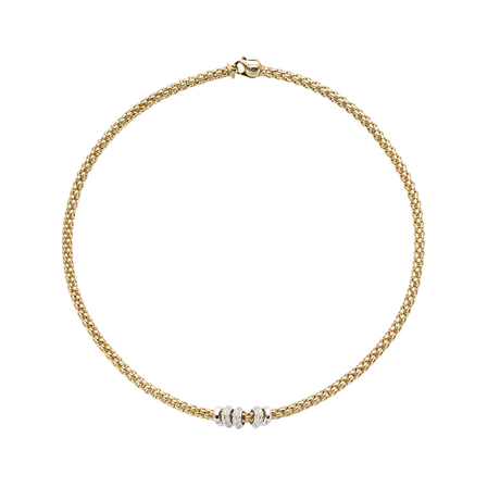 FOPE 18ct Yellow Gold Solo Flex'it 0.50ct Diamond Necklace