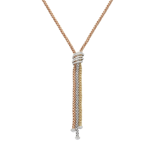 For Her - Fope 18ct Tri Colour Gold Solo MiaLuce Necklace - 651C PAVE 70