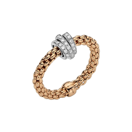 Fope 18ct Rose & White Gold Flex'it Prima Ring